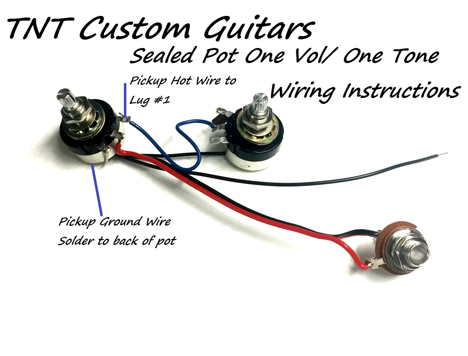 1v1t One Pickup Wiring Harness Sealed Pots Prewired Hot Guitar Pickups