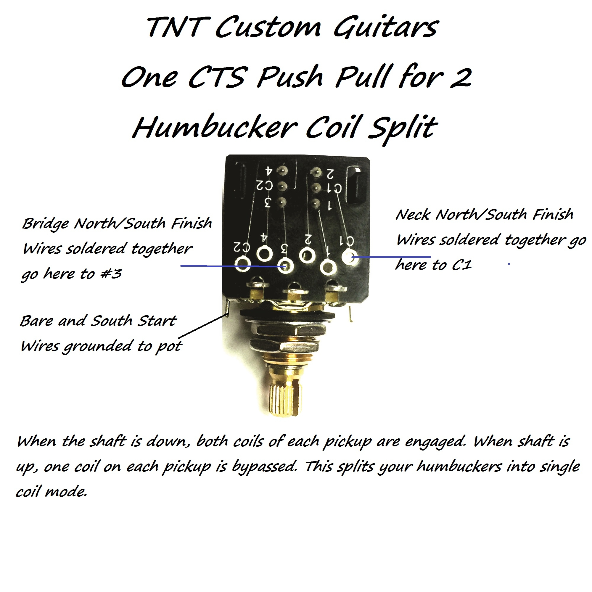 1V1T Prewired Harness, 2 Pickup CTS Push-Pull Coil Split, 3 Way FCS Switch