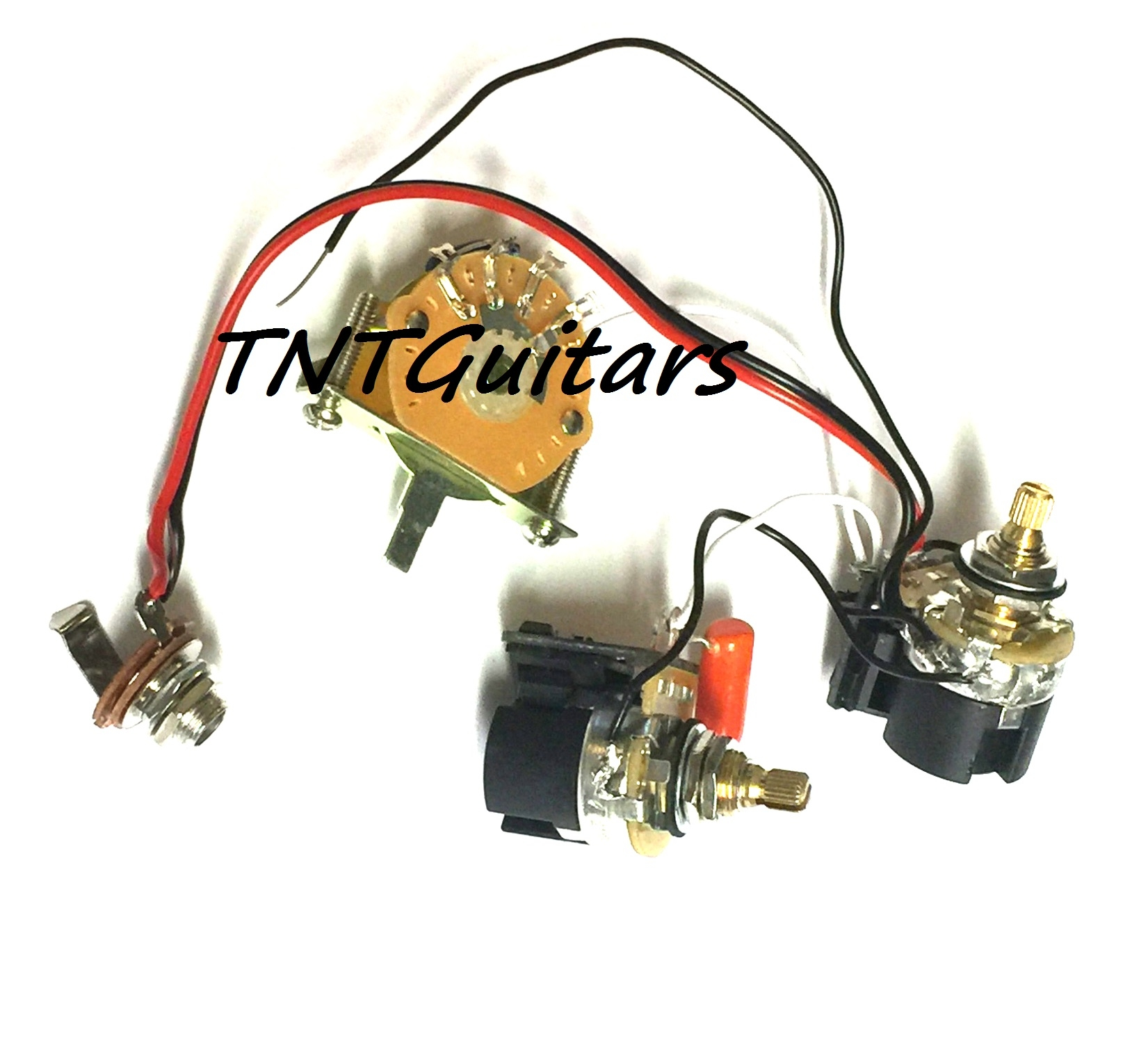 1V1T Prewired Harness, 2 Pickup CTS PUSH-PULL w/ DUAL Coil Split on wire alligator clips electrical, torque converter components, speaker components, electronic circuit components,