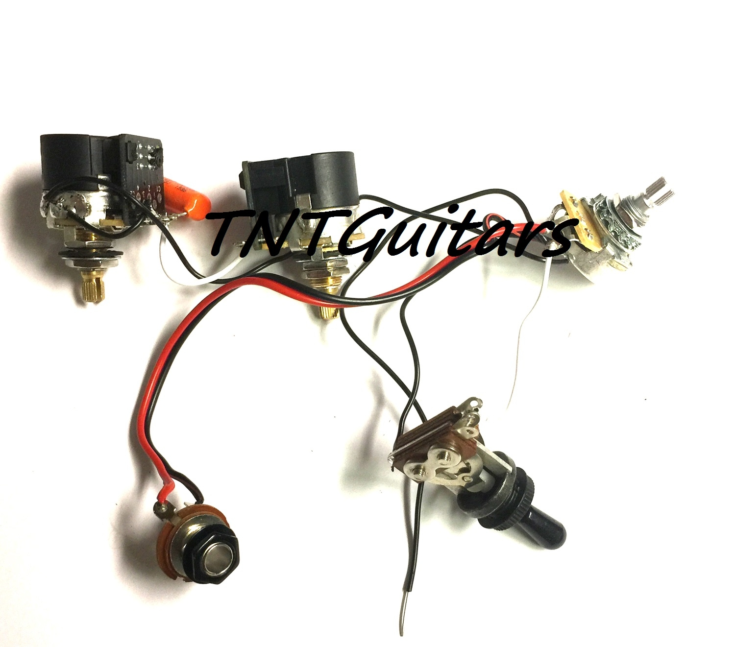 1v2t Prewired Harness 2 Pickup 3 Controls Cts Push Pull W Dual Used Gibsonstyle Humbucking Set Wiring Pots Switch And Coil Split